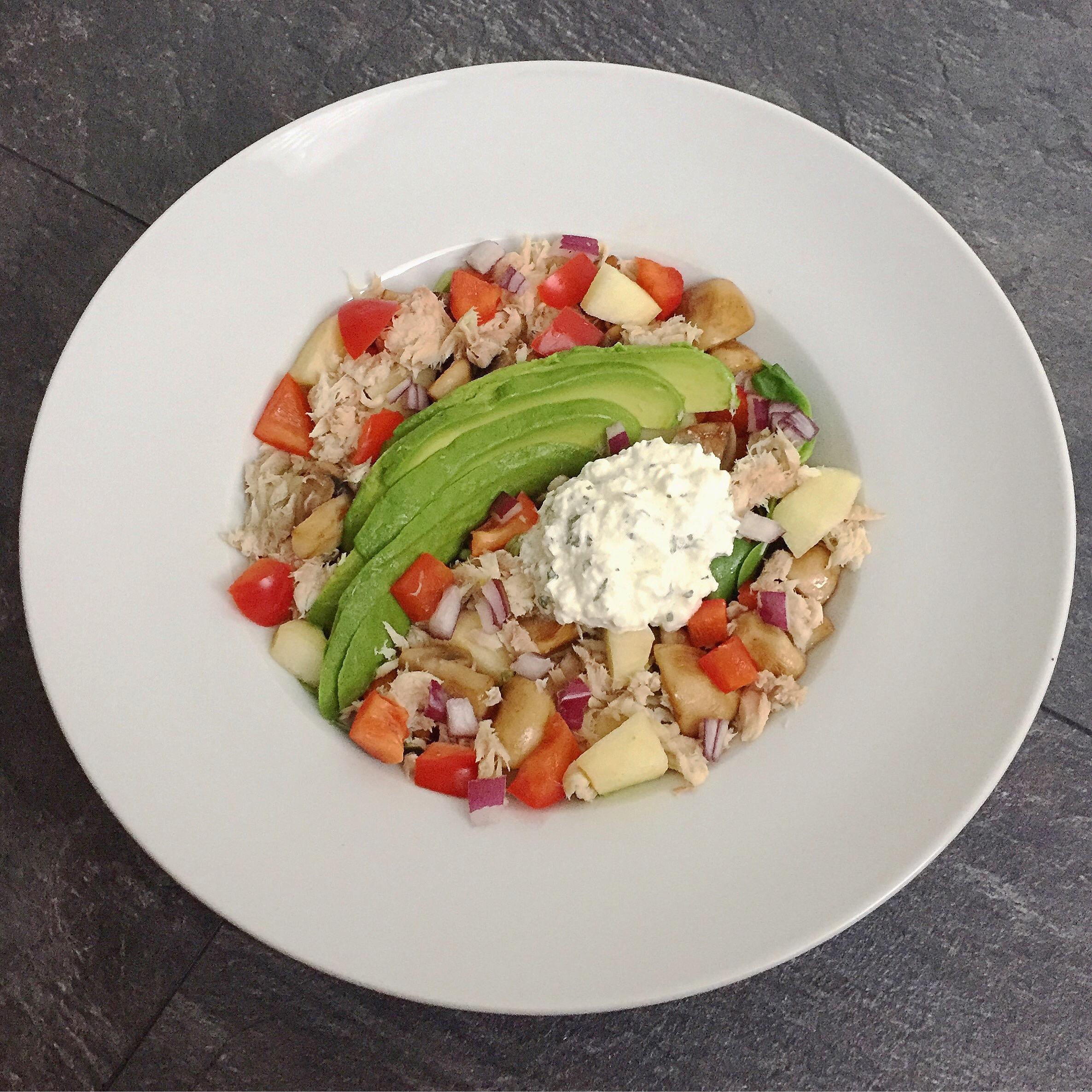 salade met gerookte makreel