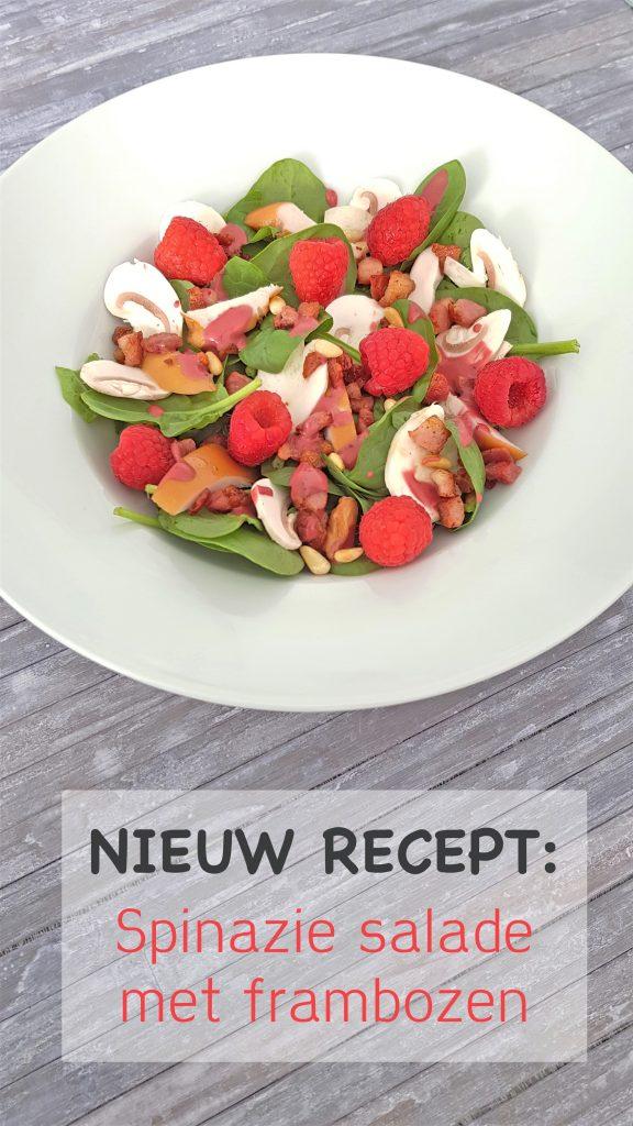 Spinaziesalade met frambozen en champignons